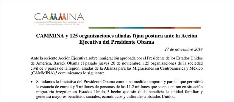 CAMMINA y 125 organizaciones aliadas fijan postura ante la Acción Ejecutiva del Presidente Obama - incidencia.fjedd@gmail.com - Gm
